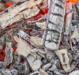Close up of wooden embers.