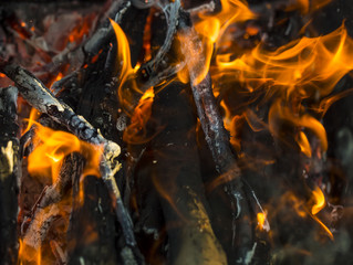 Close up of blazing fire.