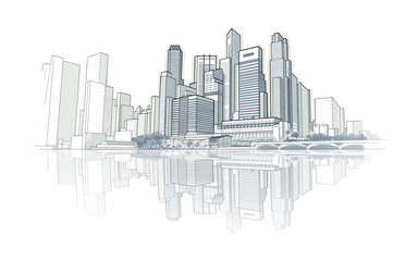 Skyline perspective drawing