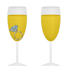 glass of champagne with blue ring