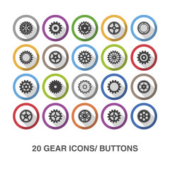 Gear flat icons/ buttons with shadow.