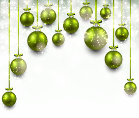 Arc background with green christmas balls.