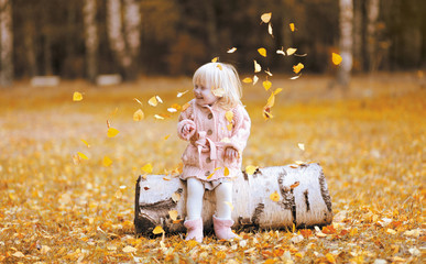 Autumn lifestyle photo child throws up the leaves and having fun