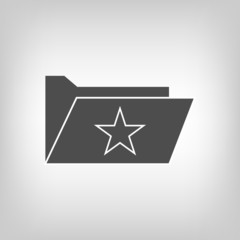 Computer folder with star