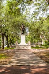 Savannah Park with Oglethorpe Statue