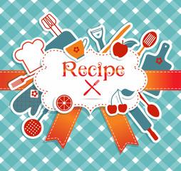 Recipe illustration. Kitchen background.