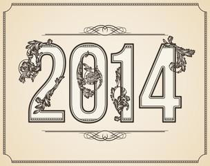 Calligraphic number 2014. Vector Design Background.