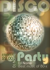 Retro disco poster. Disco background