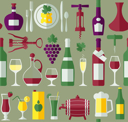 Seamless wine pattern.Flat design.
