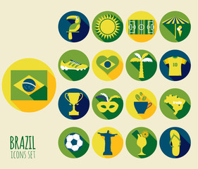 Brazil icon set. Flat design.