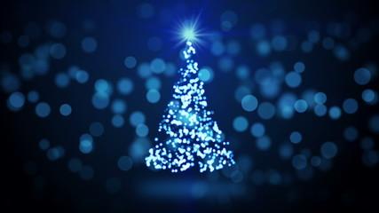 blue christmas tree blurred lights loopable