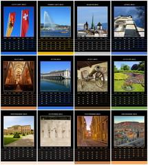 European 2015 year calendar for Geneva, Switzerland