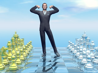 Businessman successful strategy - 3D render