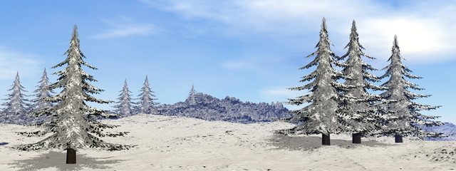 Mountain by winter - 3D render