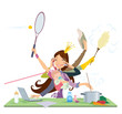 Busy woman doing many things at the same time - 70510350