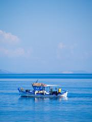 Santorini island Greece White Boat