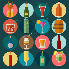 Alcohol drinks icons. 16 flat icons set