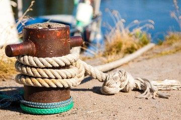 Closeup of boat cleat on a dock