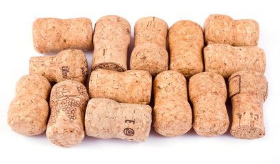 Champaigne corks isolated on white background