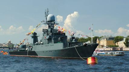 Military ship on Neva river, St. Petersburg