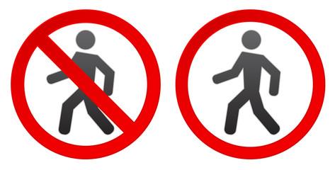 person walk warning stop sign