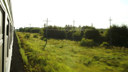 Moving train and passing landscape