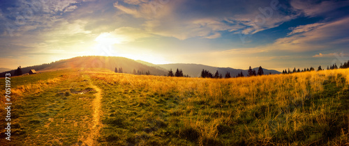 Panoramic view of the sunrise in the Tatra mountains