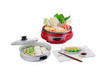 Sukiyaki electric pot with steamed tray