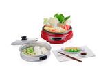 Sukiyaki electric pot with steamed tray