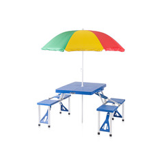 Fold able and portable picnic table with sunshade