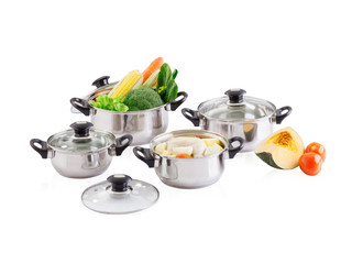 stainless pots with lids and vegetableห