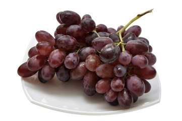 Grape on a white plate