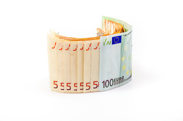 paper euro banknotes on a white background