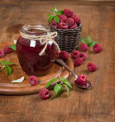 jar of homemade raspberry and fresh berry