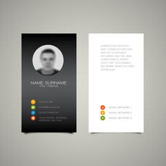 Modern simple dark business card template