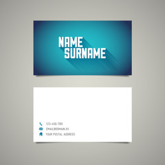 Modern simple business card template with long shadow effect