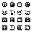 Contact icons set, mobile, phone, email, envelope