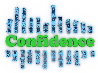 3d image Confidence in Personal Belief concept word cloud backgr