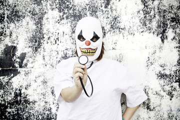 Clown with stethoscope