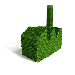 Kleines grünes Industriegebäude aus Gras