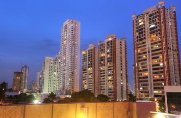 Panama City skyline in the sunset