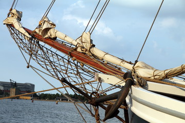 Detail of a sailing boat, Copenhagen port,  Denmark.