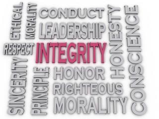 3d imagen Integrity concept word cloud background