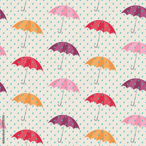 Fototapeta seamless pattern with umbrellas