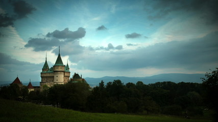 Stormy clouds gather over Bojnice Castle Time-lapse