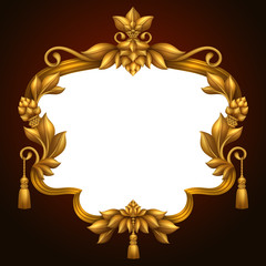gold antique frame, vintage wedding background