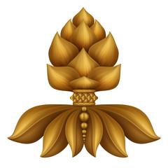 antique gold floral decorative ornament, design element,