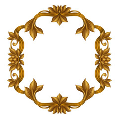 decorative gold vintage frame isolated on white background