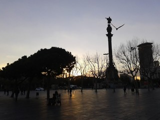 Sunset on Barcellona's dock