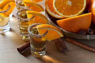 tequila with orange and cinnamon